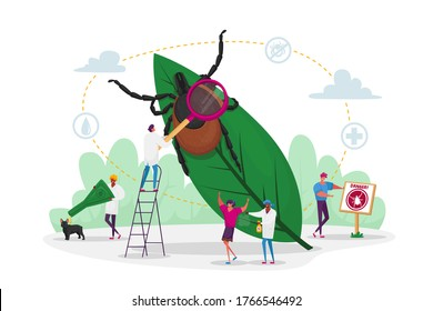 Tiny Characters Search Dangerous Insect. Mite Hid on Plant Leaf, People Spraying Insect Repellent on Skin and Dog Outdoor. Encephalitis Mite, Tick Bite Protection Concept. Cartoon Vector Illustration