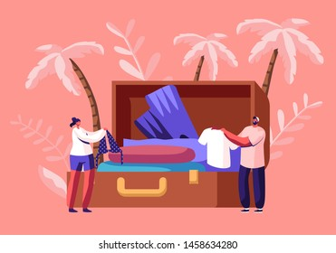 Tiny Characters Take Out Traveling Clothes and Accessories from Huge Suitcase after Vacation Trip, Summer Time Leisure, Trip Experience, Journey, Summertime Leisure Cartoon Flat Vector Illustration