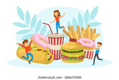 Tiny Children Having Fun with Fast Food, Boys and Girls Eating Junk Food Vector Illustration
