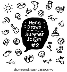 Tiny cute doodle hot summer on da beach vector icon set with black & white color that can be used as emoji or symbol for kids or little seamless pattern on pastel background for wrapping gift box.