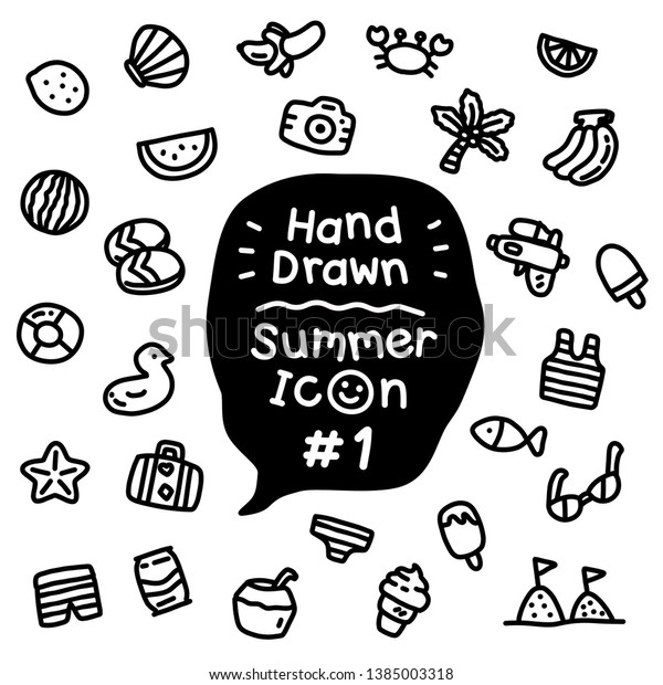 Tiny Cute Doodle Hot Summer On Stock Vector (Royalty Free