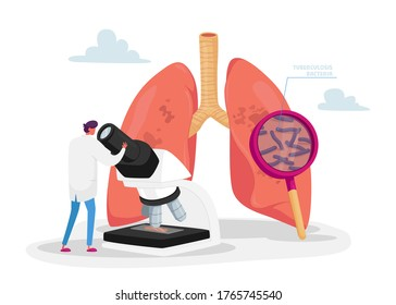 Tiny Doctor Character Watching to Microscope Learning Microbes, Checking Lungs Sputum on Pulmonology, Fibrosis Tuberculosis Pneumonia Bacteria and Germs, Cancer Diagnosis. Cartoon Vector Illustration