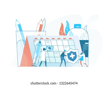 Tiny doctors, physicians or health care professionals, giant syringe with vaccine and calendar or schedule. Vaccination awareness, medicine and healthcare service. Colorful flat vector illustration.