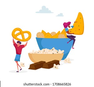 Tiny Female Character Taking Cookies and Pretzel from Huge Plate, Chocolate Bar below. People Eating Snack and Fast Food in Cafe, Junk Meal and Unhealthy Nutrition Concept. Cartoon Vector Illustration