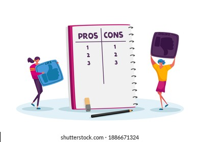 Tiny Female Characters with Huge Thumb Up Icons Make Decision at Notebook with Pros or Cons List in Separated Column, Women Count Advantages or Disadvantages of Deal. Cartoon Vector Illustration