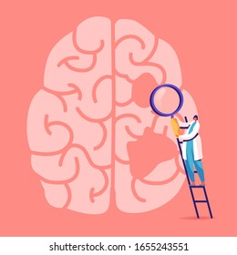 Tiny Female Doctor Character Stand on Ladder with Magnifying Glass Learn Huge Human Brain with Holes, Alzheimer and Dementia Disease Symptoms, Memory Loss Problem. Cartoon Flat Vector Illustration