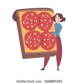 Tiny Female Interacting with Huge Sandwich with Salami Slices Vector Illustration