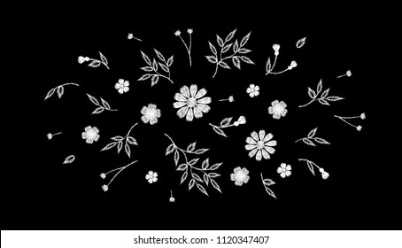 Tiny field flower realistic embroidery. Wild herbs daisy textile print decoration black fashion traditional vector illustration vintage design template. Monochrome white lace ditsy ornament