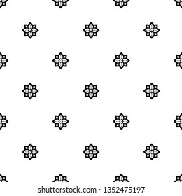 Tiny flower fabric pattern in black, white colours. Allover pattern for adult colouring book, interior, wallpaper, fabric, apparel textile, phone case. Monochrome oriental bold line octagon motif