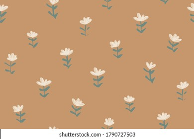 Tiny flower sprouts seamless vector pattern. Field of flowers sprouting out here and there. Pink flowers with green leaves on orange. Great for home decor, fabric, wallpaper, stationery and packaging.