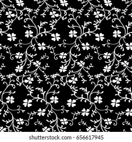 Tiny flowers seamless pattern, vector, black and white