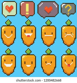 tiny funky cartoon pixel art baby carrots set isolated on blue background. vector illustration kids carrot with speech bubble 8 bit old game style. Game character collection