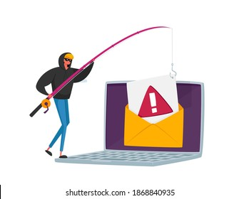 Tiny Hacker Male Character with Rods Phishing Personal Data in Huge Laptop via Internet, Email Spoofing or Fishing Messages, Hacking Cyber Crime with Credit Card. Cartoon People Vector Illustration