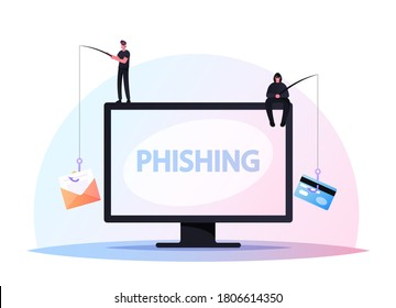 Tiny Hackers Male Characters Sitting on Huge Computer with Rods Phishing via Internet, Email Spoofing or Fishing Messages, Hacking Credit Card or Personal Data. Cartoon People Vector Illustration