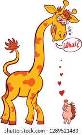 "Tiny hedgehog making a bold declaration of love to a tall giraffe. The giraffe feels surprised and scared and exclaims ""What?"" in a speech bubble. Red hearts try to reach the giraffe's ears"
