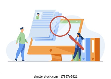 Tiny HR manager looking for candidate for job. Interview, magnifier, computer screen flat vector illustration. Career and employment concept for banner, website design or landing web page