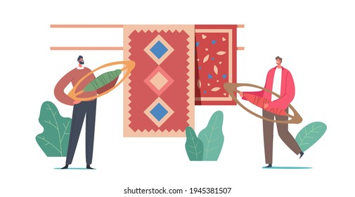 Tiny Male Characters with Weaving Shuttles near Carpets with Traditional Oriental Ornament. Vintage Artisan Craft, Rugs Producing of Natural Materials on Handloom. Cartoon People Vector Illustration