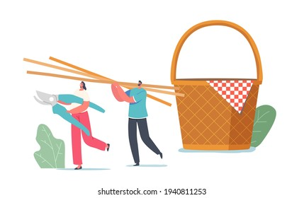 Tiny Male and Female Characters Carry Huge Straw or Bamboo Sticks for Weaving Picnic Basket. Handmade Decor of Natural Material, Hobby or Wickerwork Business. Cartoon People Vector Illustration