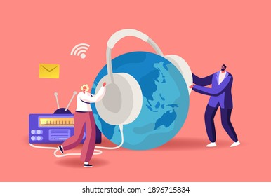 Tiny Male and Female Characters with Huge Headset near Radio Transmitter and Earth Globe Broadcast Podcast or Audioprogram Livestream, Entertainment Online Broadcasting. Cartoon Vector Illustration