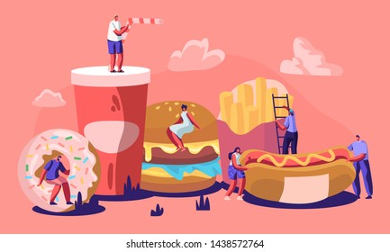 Tiny Male and Female Characters Interacting with Fastfood. Huge Burger, Hot Dog with Mustard, French Fries, Donut, Soda Drink. People Eating Street Fast Food Cafe Meal Cartoon Flat Vector Illustration