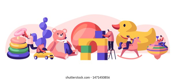 Tiny Male and Female Characters Playing with Huge Baby Toys in Kindergarten Playground with Different Playthings for Children. Childhood, Men and Women Gaming Activity Cartoon Flat Vector Illustration