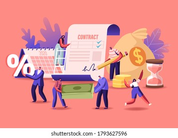 Tiny Male and Female Characters Signing Loan Contract. Men and Women Borrowing Money at Bank for Mortgage, Buying Property, People with Percent Symbol and Currency Bills. Cartoon Vector Illustration
