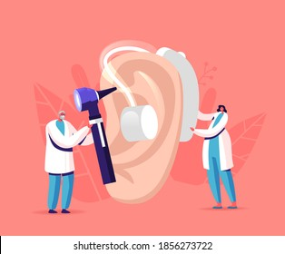 Tiny Male Female Doctors Characters Fitting Deaf Aid on Huge Patient Ear. Hearing Loss Medical Health Problem, Otolaryngology Medicine, Deafness Disease Concept. Cartoon People Vector Illustration