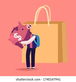 Tiny Man Character Hugging Huge Piggy Bank Stand at Shopping Paper Bag. Saving Finance Budget and Collect Money in Thrift-box, Consumption Reducing, Open Bank Deposit. Cartoon Vector Illustration