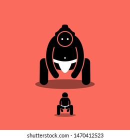 Tiny man vs big Japanese sumo fighter. Vector artwork depicts a small person ready to fight with a large giant sumo. Concept of challenge, boss fight, difficult level, and underdog.