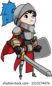 Tiny medieval knight with sword and shield.