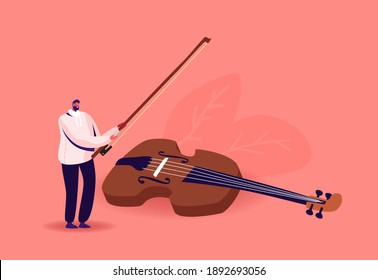 Tiny Musician Character with Huge Violin and Bow. Man with String Instrument Perform on Stage. Symphony Orchestra Classical Music Performance, Instrumental Ensemble. Cartoon Vector Illustration