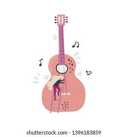 Tiny musician tuning guitar flat illustration. Blonde guitarist climbing ladder on big guitar cartoon character. Musical instrument, notes scandinavian style clipart. Music concert