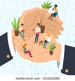 Tiny office stuffers resting and working in the giant hands. Employee care, personnel benefits, support and professional growth concept. Modern flat vector illustration.