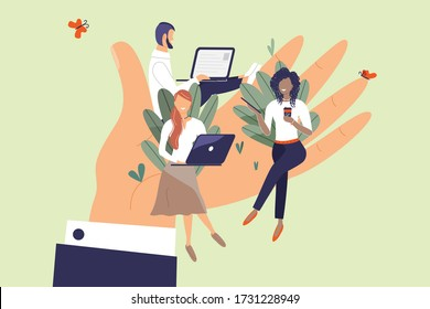 Tiny office workers sitting on huge hand. Concept of good comfortable environment at work, favorable psychological climate,high pay and freedom of creativity for employees. Vector flat illustration