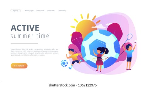 Tiny people, active kids in camp playing sports outside and big football. Sport summer camp, multi sports camp, active summer time concept. Website vibrant violet landing web page template.