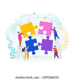 Tiny people assemble a puzzle. Metaphor of teamwork. Human resource. The cohesion of people around the same idea, the work to achieve a result. Vector flat cartoon Character illustration.