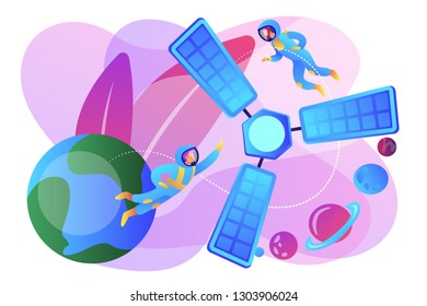 Tiny people astronauts in outer space and satellite orbiting the Earth. Satellite launch, orbital launch system, carrier rocket start concept. Bright vibrant violet vector isolated illustration