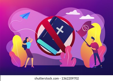 Tiny people atheists against religion and Bible prohibited sign. Atheistic worldview, absence of belief in deities, religious skepticism concept. Bright vibrant violet vector isolated illustration