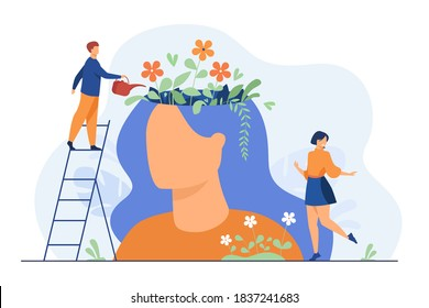 Tiny people and beautiful flower garden inside female head isolated flat vector illustration. Cartoon characters healing mind and soul for happy lifestyle. Mental health and infographics concept