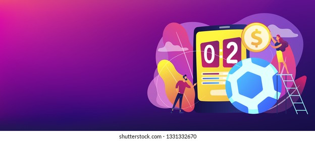 Tiny people, businessman betting on football and bookmaker at big smartphone with score. Sports betting, bookmaker market, sports wagering concept. Header or footer banner template with copy space.