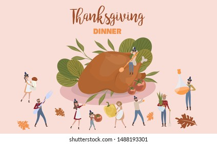 Tiny people characters Cooking Huge Thanksgiving Turkey Flavouring with Vegetables. Thanksgiving dinner. Editable vector illustration