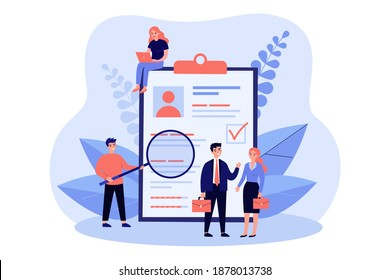 Tiny people checking application form for employment isolated flat vector illustration. Cartoon characters selecting resume or claim for job. Human research and recruitment concept