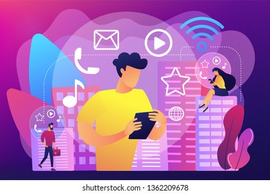 Tiny people connected with multiple intelligent devices in smart city. Connected living, global online services, intelligent devices network concept. Bright vibrant violet vector isolated illustration