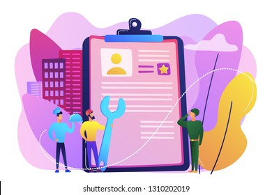 Tiny people cook and builder perform alternative civilian labour. Alternative civilian service, non-military service, substitute service concept. Bright vibrant violet vector isolated illustration