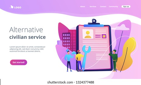 Tiny people cook and builder perform alternative civilian labour. Alternative civilian service, non-military service, substitute service concept. Website vibrant violet landing web page template.