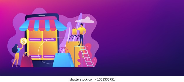 Tiny people customers with bags shopping online with smartphone. Mobile based marketplace, mobile e-shop app, online e-commerce marketplace concept. Header or footer banner template with copy space.