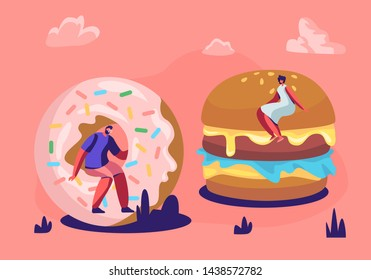 Tiny People Eating Fast Food Enjoying Outdoor Festival, Street Party, City Fest, Fastfood Festival. Male and Female Characters Interacting with Huge Burger and Donut, Cartoon Flat Vector Illustration