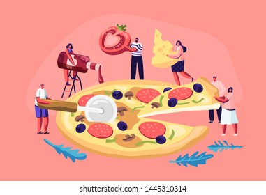 Tiny People Eating Huge Pizza. Male and Female Characters Cut with Knife, Put Ketchup and Cheese, Take Piece of Tasty Italian Food. Fast Food, Cafe, Bistro Visitors. Cartoon Flat Vector Illustration