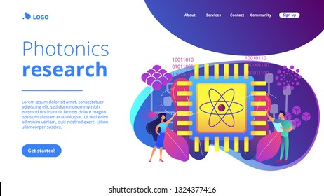 Tiny people engineer and scientist working with quantum computer chip. Optical technology, photonics research, quantum computing concept. Website vibrant violet landing web page template.