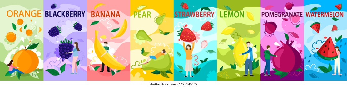 Tiny people with fruits vector illustration. Cartoon girl boy character holding healthy juice food, orange, blackberry, banana. Strawberry, watermelon, fruity summer advertising poster vertical set